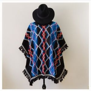 Sweaters - Vintage Mexican Molina Aztec Black Poncho